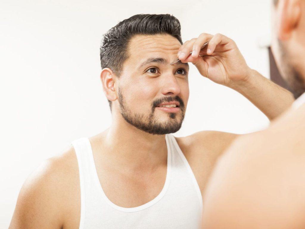plucking the chin hair